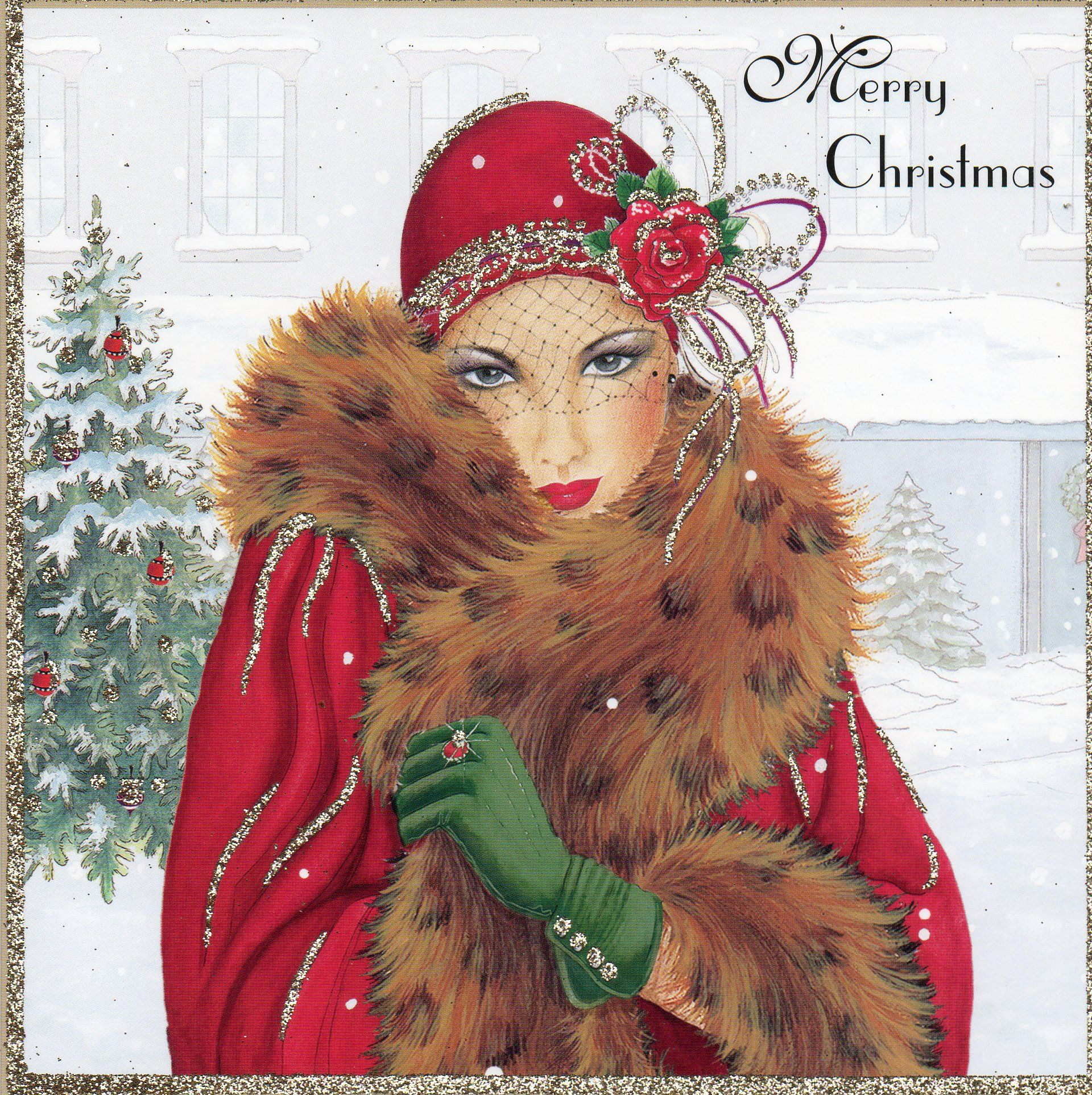 Art Deco Christmas card......have this card in a black frame. Beautiful.