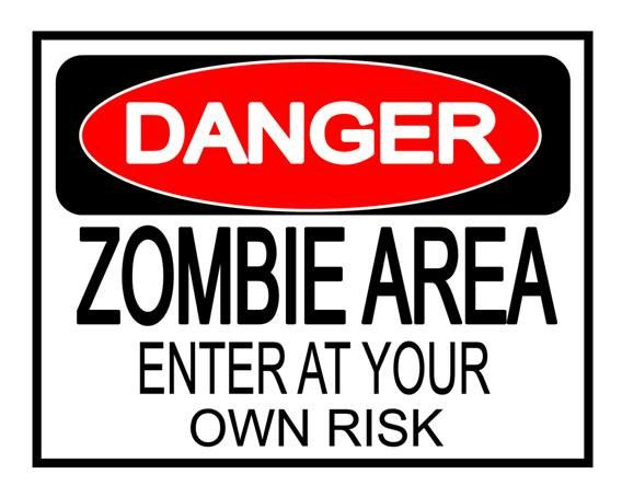 picture relating to Halloween Signs Printable called Halloween Chance Zombie Local - backyard signal Quick down load
