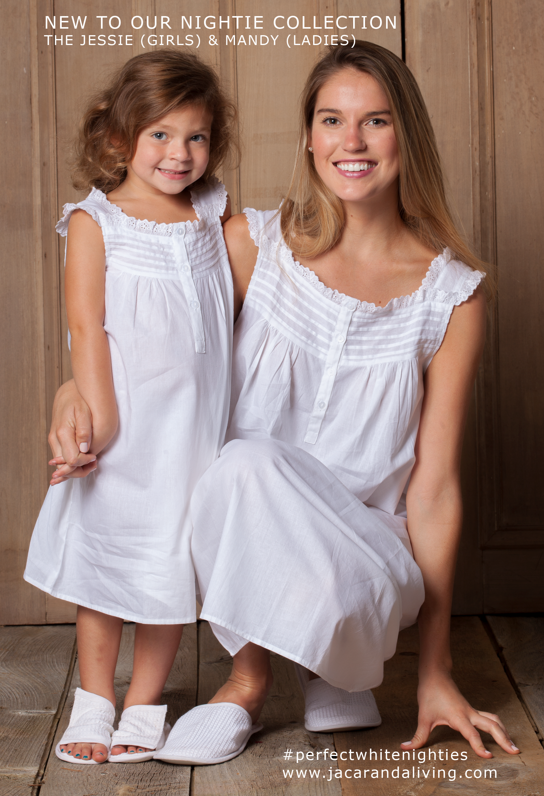 07b9f47956 White Cotton Nightgowns for Ladies and White English Cotton Dresses for  Little girls. Jacaranda Living s