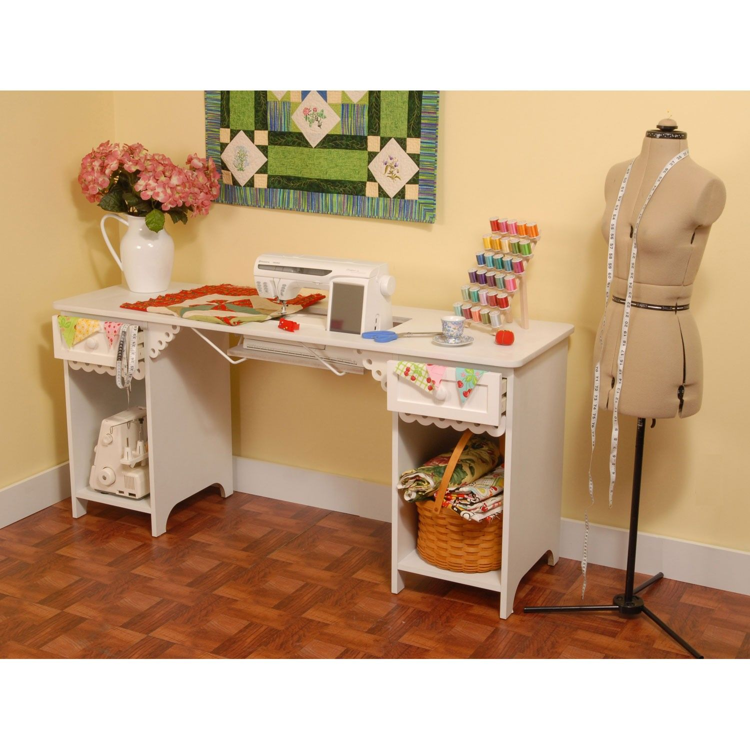 White Olivia Sewing Cabinet From Arrow Cabinets