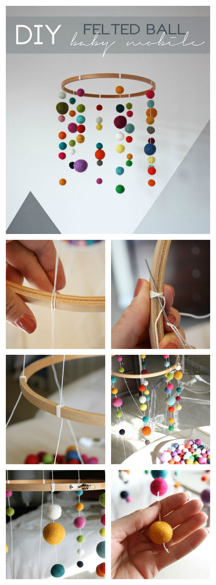 This DIY modern felted ball baby mobile is so cute and so easy to…