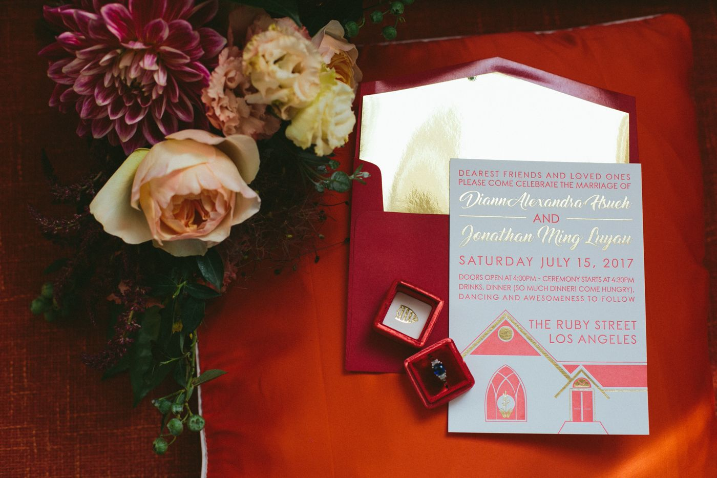 Outdoor Los Angeles Wedding with Ruby Red Details | Ruby red and ...