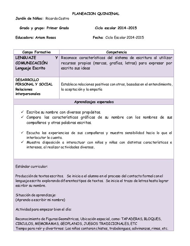 Planeacion Quincenal Jardín De Niños Ricardo Castro Grado Y Grupo Prime Primeros Grados Instrumentos De Evaluacion Preescolar Planeacion Didactica Preescolar