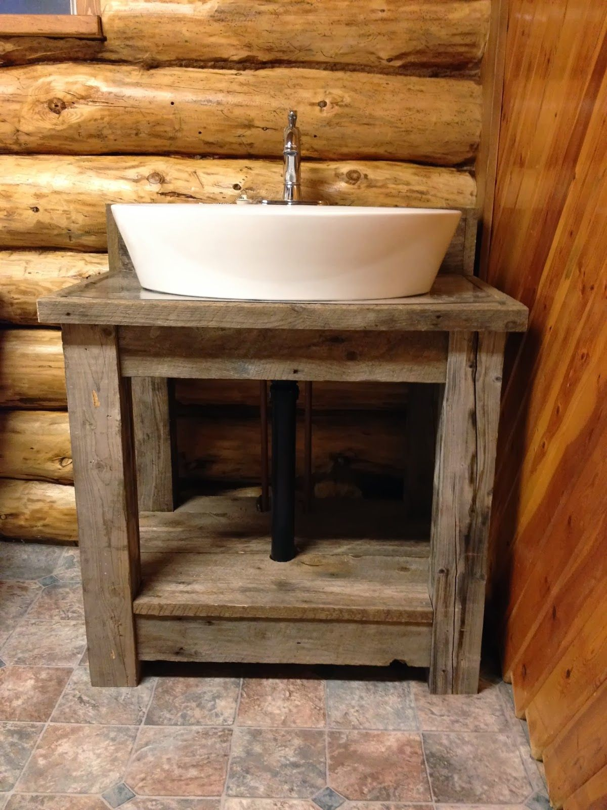 Rustic Reclaimed Wood Open Shelf Vanity With White Porcelain Vessel ...
