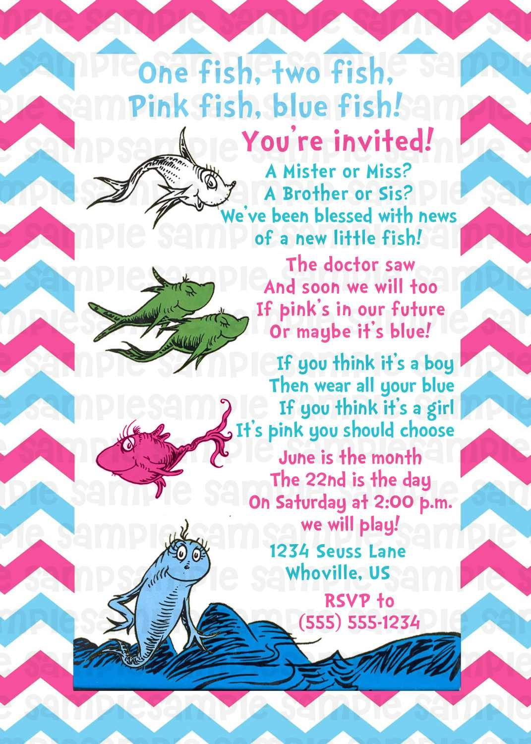Dr Seuss One Fish Two Fish Gender Reveal Baby Shower Invitation ...