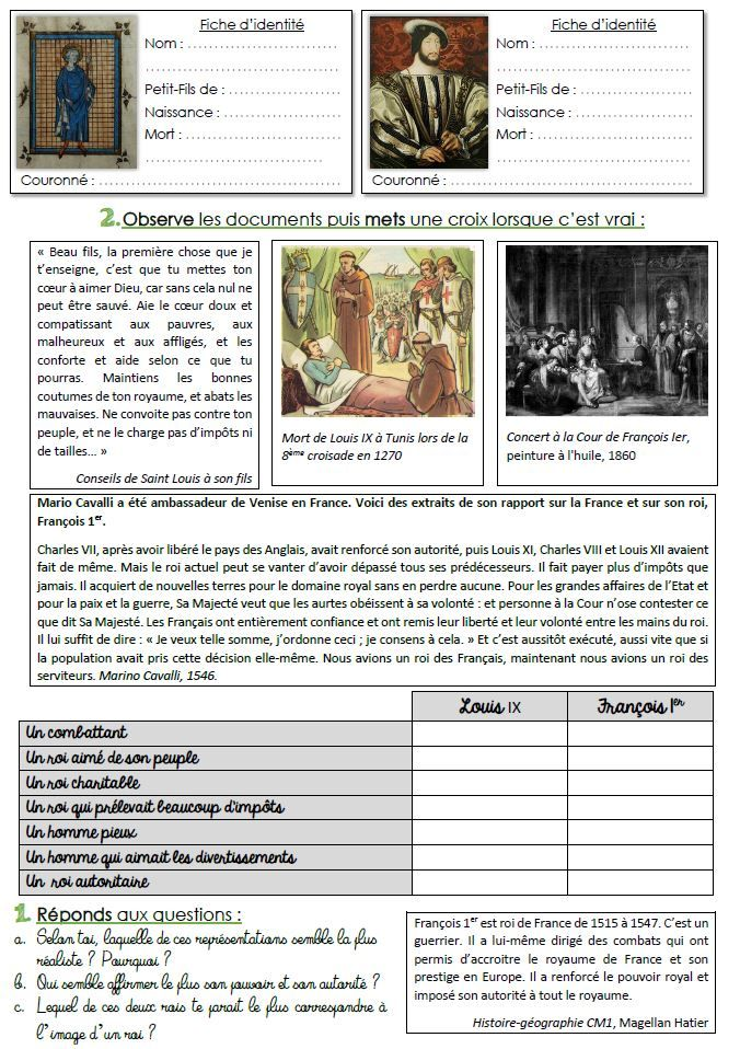 histoire cycle 3 s 233 quence compl 232 te louis ix et fran 231 ois 1er cycling learning and