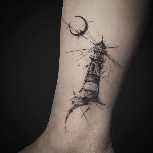 Moon Lighthouse Tattoo Abstract Tattoo Designs Tattoos Cool Tattoos