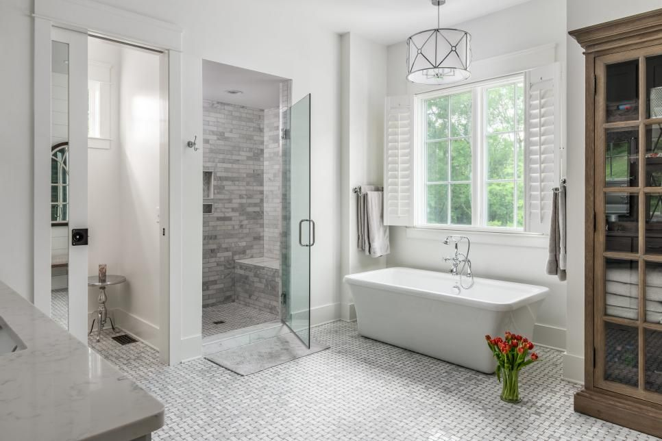 Before And After Remodeling To Sell Hgtv White Master Bathroom Spa Like Bathroom Walk In Shower