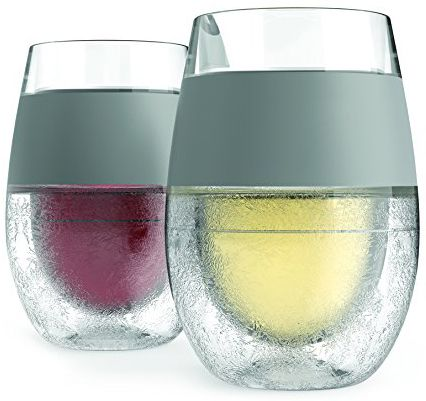 Freeze Cooling Wine Glass Set of 2 by HOST - Insulated Rubber Grip, Proprietary Cooling Gel, 8.5 oz keeps your drink cold