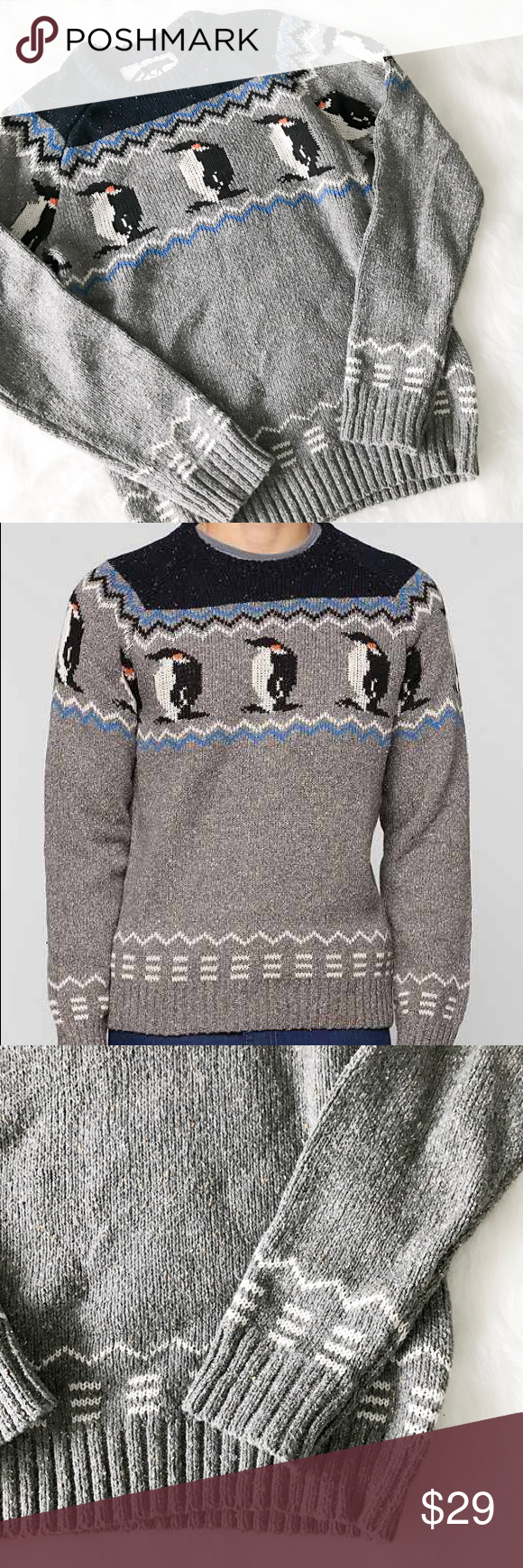 Urban Outfitters Character Hero Penguin Sweater Cotton blend fair isle patterned penguin sweater from Urban Outfitters. Brand is 'Character Hero.' Men's XS (but could fit women's small/medium). Great condition. No pilling and no stains. --------- Perfect pullover sweater from Character Hero! Warm blended cotton construction topped with an allover Fair Isle penguin print. Complete with a banded crew-neck, hem and cuffs for a perfect fit. Urban Outfitters Sweaters Crewneck
