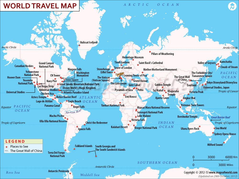 This map shows the best places to visit in the world I want to – Places Traveled Map