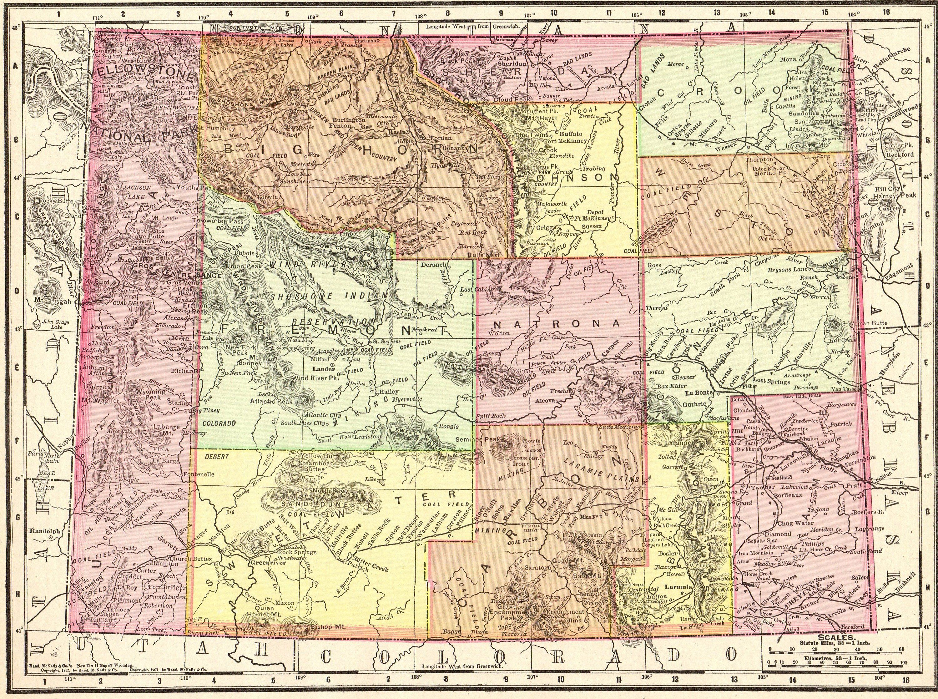 1901 Antique Wyoming Map Vintage State Map Of Wyoming Home Office