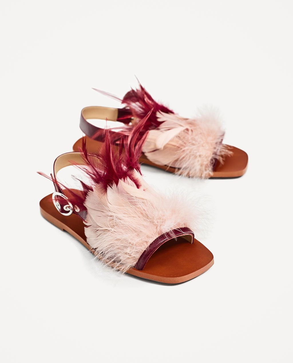 exclusive range half off cheap for sale FLAT LEATHER SANDALS WITH FEATHERS-New in-SHOES-WOMAN | ZARA ...