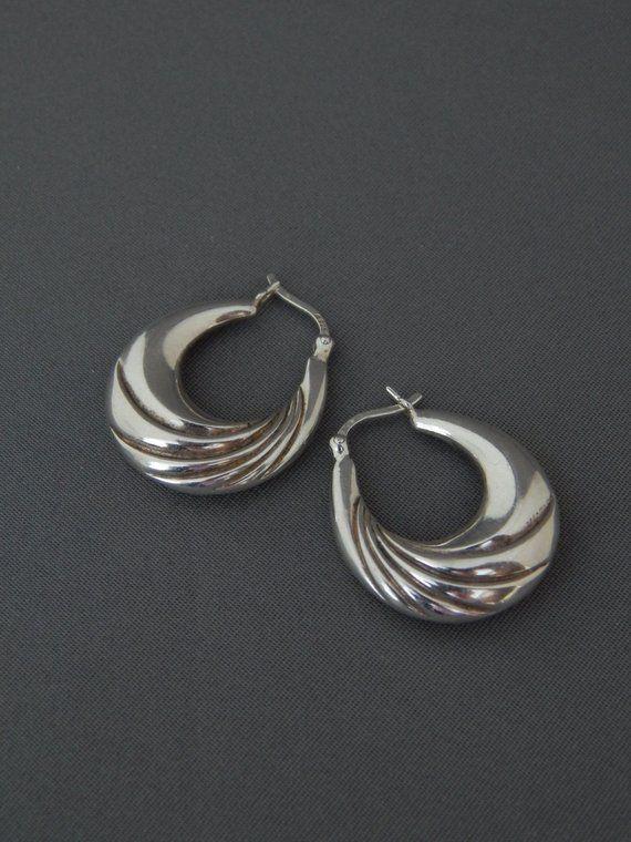 bbfd93ead Vintage Sterling Silver Creole Hoop Earrings, Pierced Sterling Silver  Classic Creole Gypsy Hoop Earr