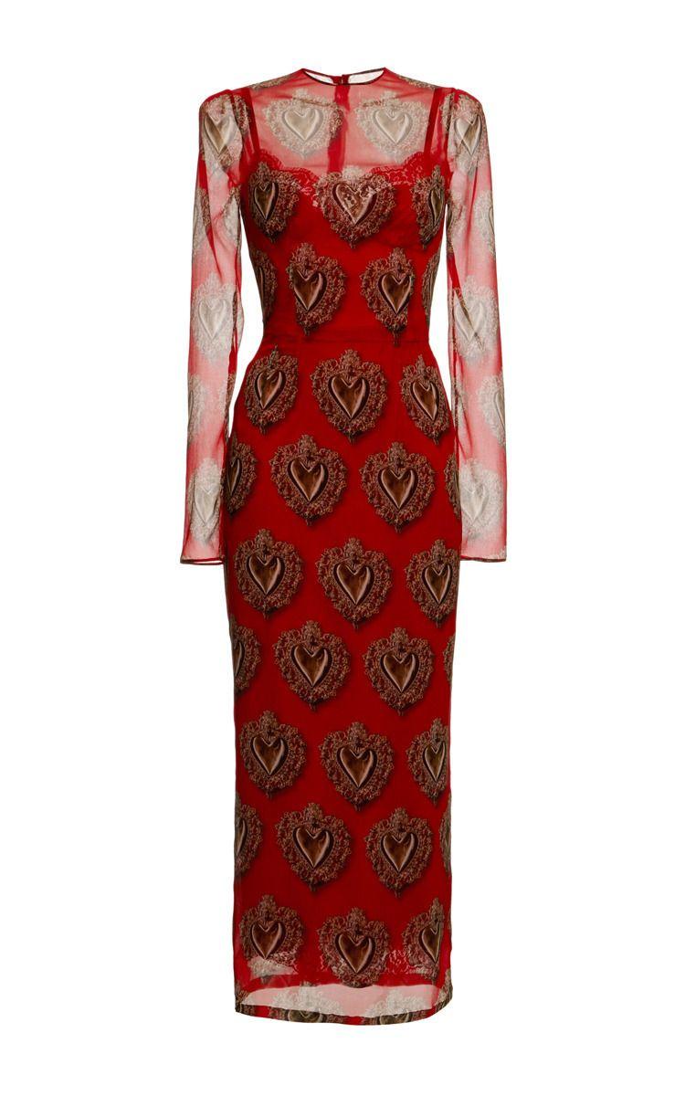 فستان طويل من الشيفون باللون الأحمر من دولتشي اند غابانا Dolce Gabbana Chiffon Dress Long Sheer Long Sleeve Dress Red Long Sleeve Dress