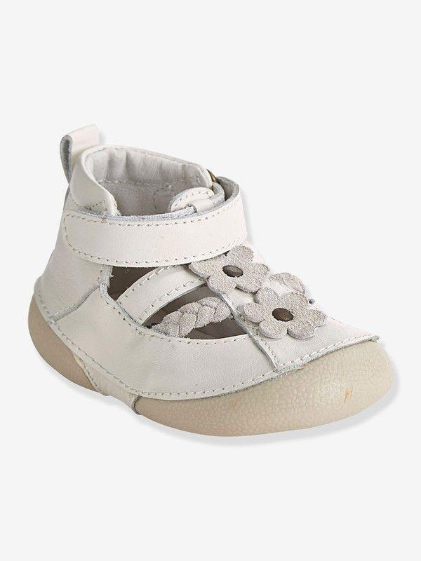 72015394bf6aa Chaussures cuir bébé fille spécial 4 pattes forme sandales - blanc-  Pointure 18