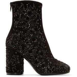 Maison Margiela Black Crushed Crystal Ankle Boots