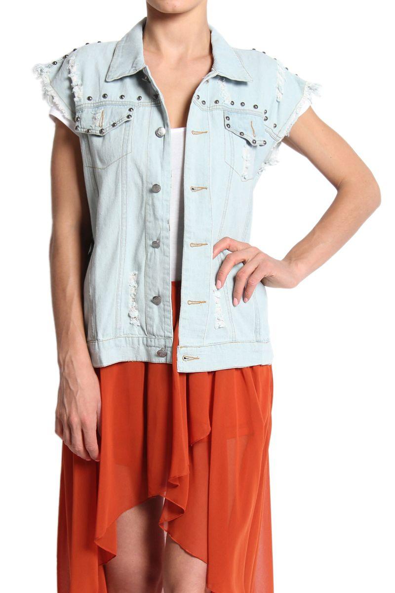 TheMogan Distressed And Studded Oversized Denim Vest