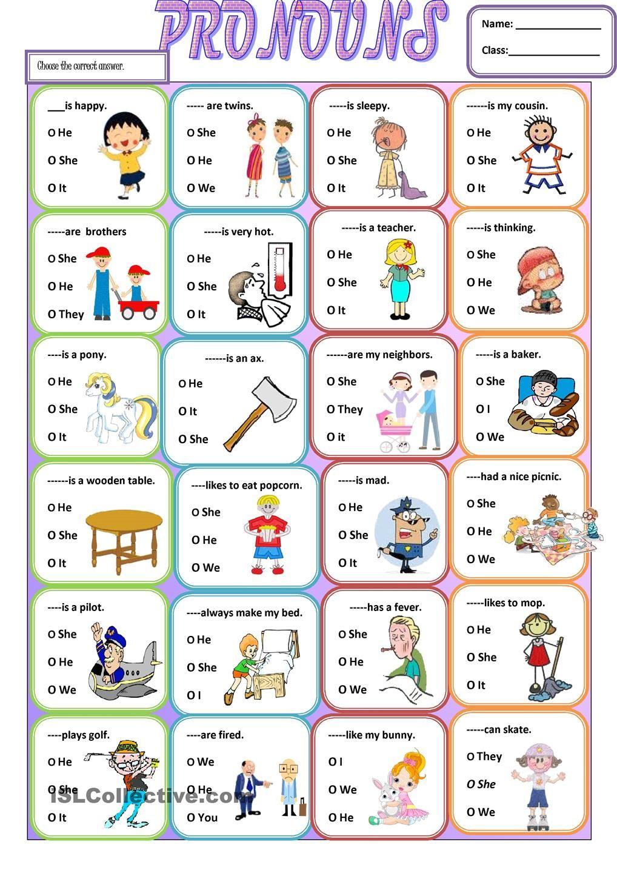 Pronouns Personal pronouns, English grammar worksheets