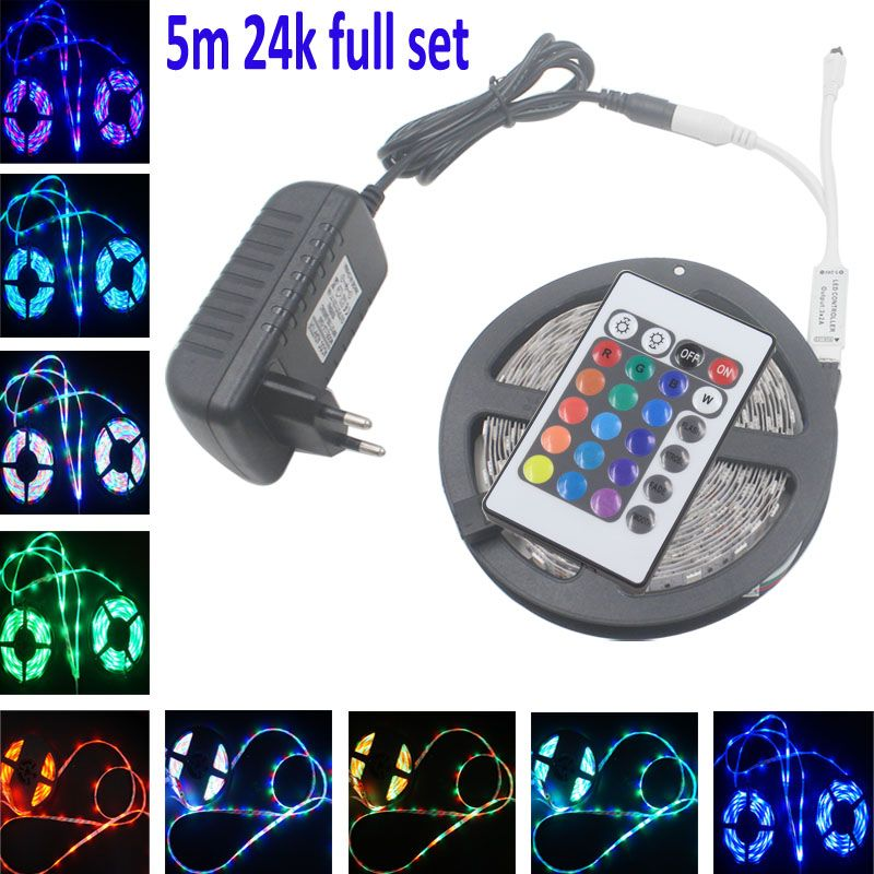 Rgb Led Strip Light Led Light Smd 5050 2835 5m 10m 15m Flexible No Waterproof Led Tape Ribbon Ir Remote Controlle Dc12v Adapter Streifen