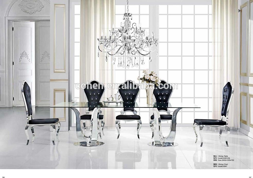Rectangle Used Glass Dining Table Designed For Living Room