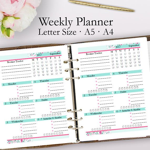 Editable Weekly Planner Template PDF, Weekly Planner Printable PDF - daily schedule template