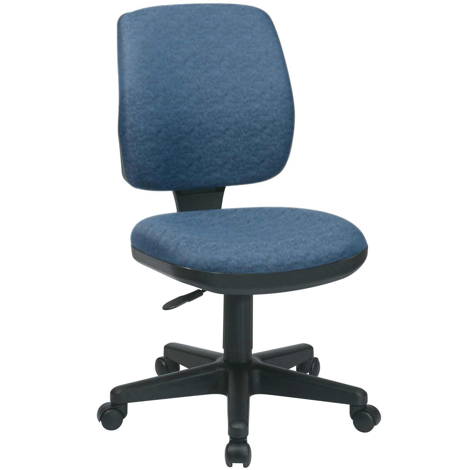 Luxury Blue Fabric Armless Task Chairs Upholstered Desk Chair Retro Office Chair Upholstered Swivel Chairs