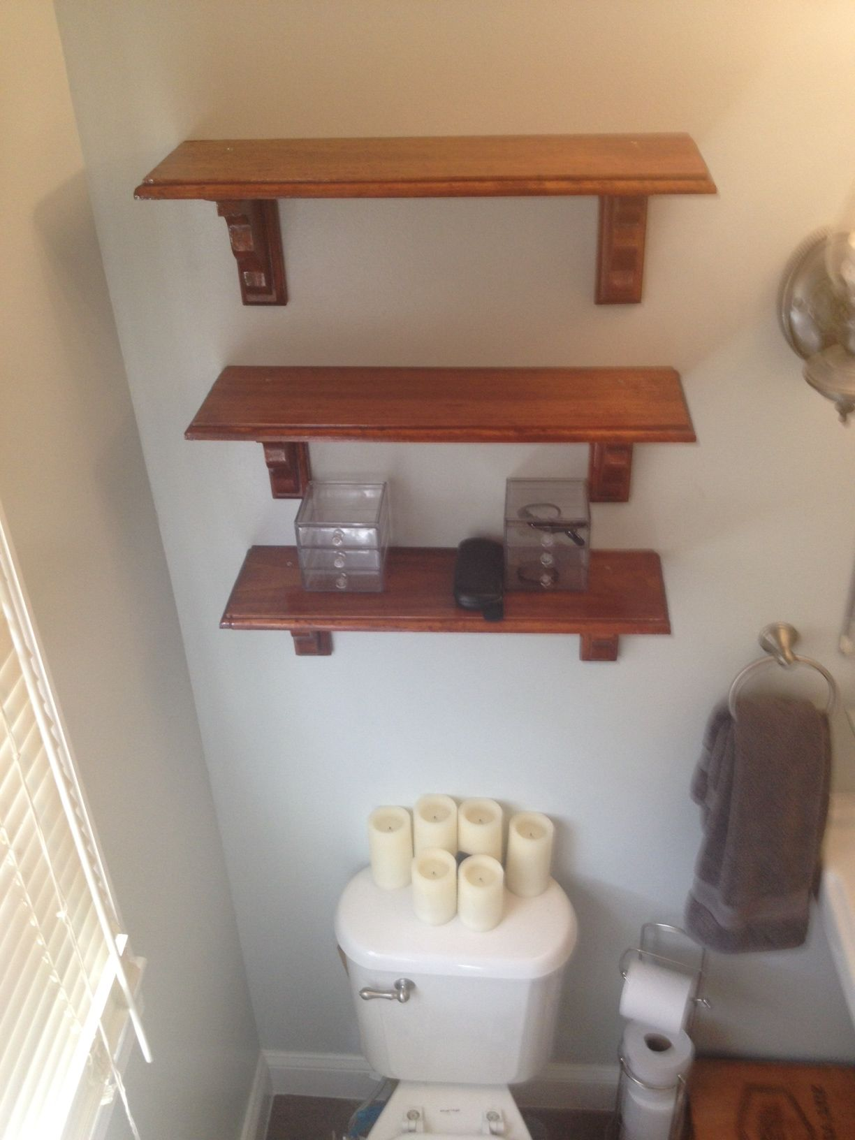 Our DIY full gut bathroom reno Here are our DIY shelves We
