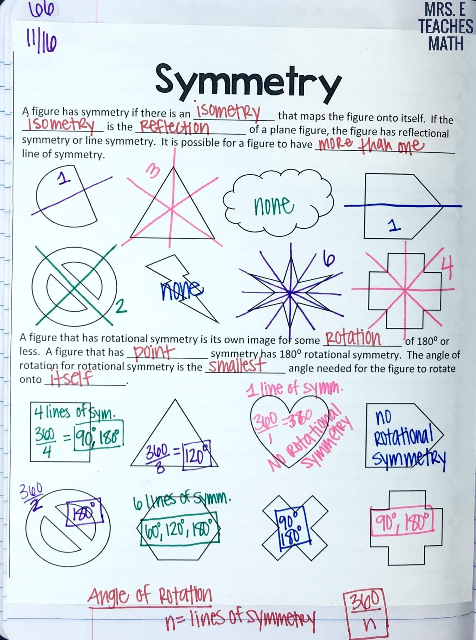 Symmetry Notes For Interactive Notebooks In High School