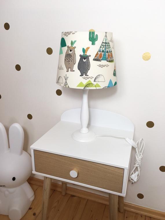 Tischlampe Kinderzimmer, Indianerbären Tipi, deko Indianer