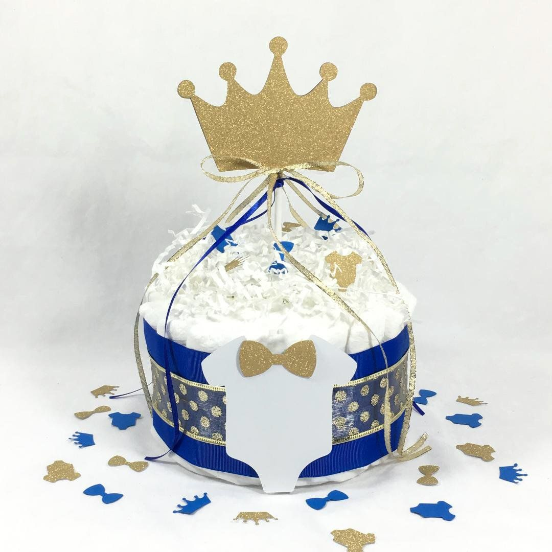 Baby Diaper Cake Prince King Boys Blue and Gold OR Silver Shower Gift or Centerpiece