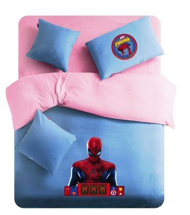 Queen Twin Full Pink And Blue Spiderman Logo Spiderman Bedding For