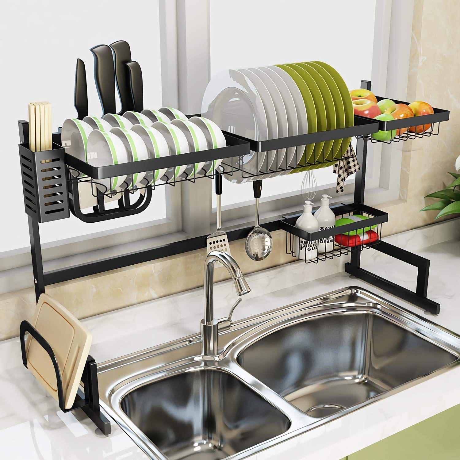 Black Over Sink Dish Drying Rack Sink Length 32 5 Inch