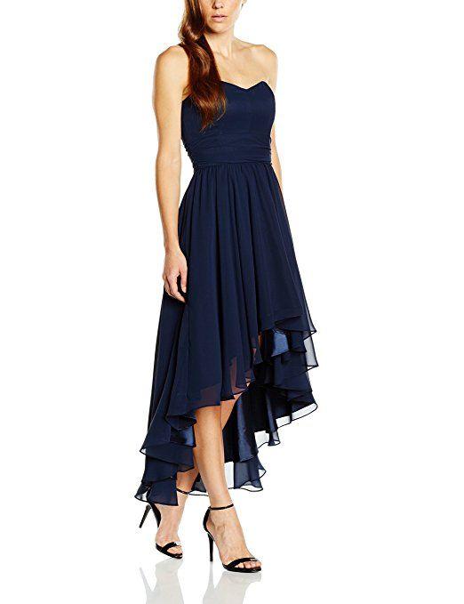 Swing Damen Schulterfreies Kleid im Vokuhila-Stil, Gr. 32, Blau ...
