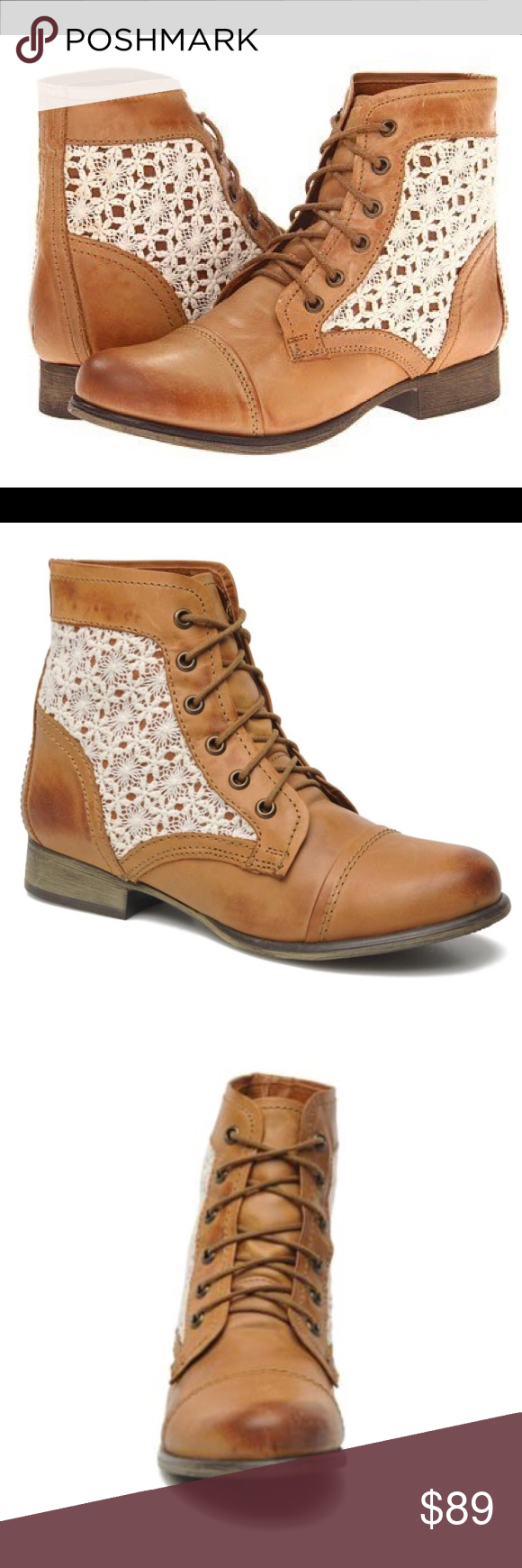 50602504902 Steve Madden Thundr-C Booties in Cognac NWT size 6 in women s. Steve Madden  Thundr-C Cognac Multi Crocheted Lace-Up Ankle Boots Buttery soft burnished  ...
