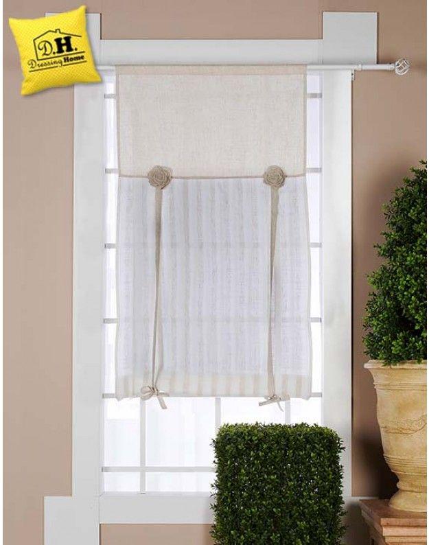 Tenda finestra Shabby chic con rose Blanc Mariclo 60 x 180 Roselline ...
