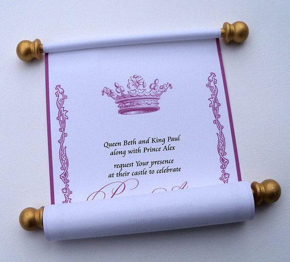 Princess Birthday Invitation Scroll Royal By ArtfulBeginnings 10000