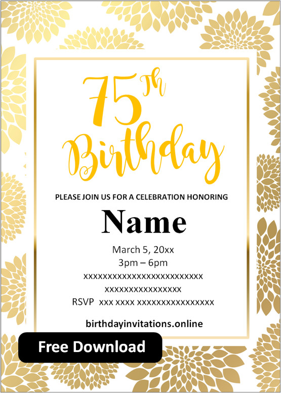 17 free 75th birthday invitations
