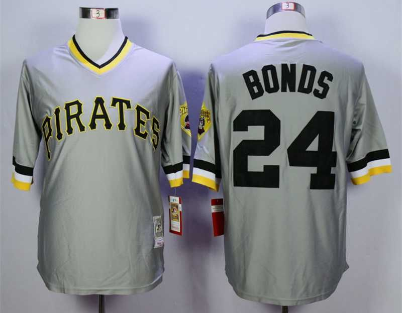 27c2dbf03 ... Mens Pittsburgh Pirates 24 Barry Bonds Grey Throwback Jersey .