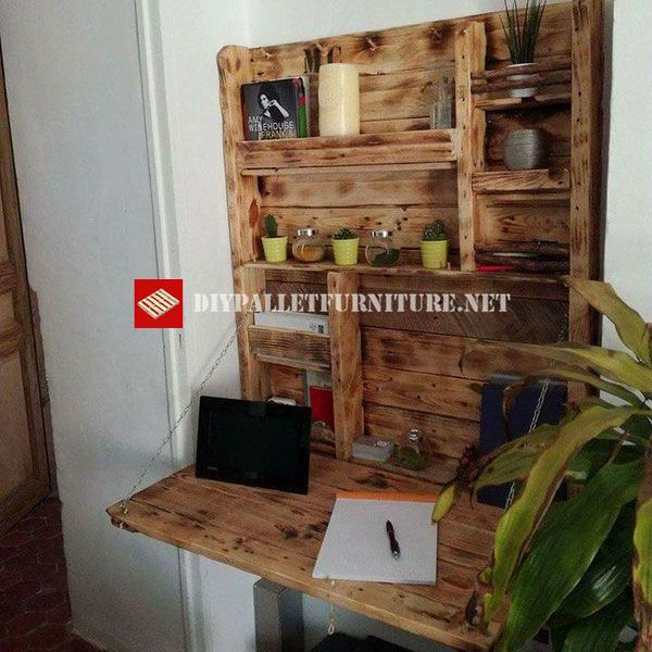 Mueblesdepaletsnet Escritorio plegable con estantería de palets - palets ideas