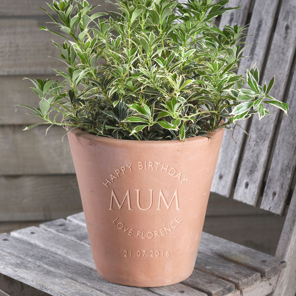 Engraved Message Terracotta Personalised Plant Pot By Letterfest