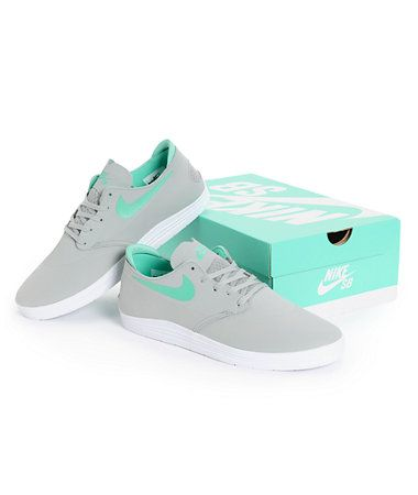 official photos 96098 99386 Nike SB Lunar One Shot Grey, White,   Mint Skate Shoe at Zumiez   PDP