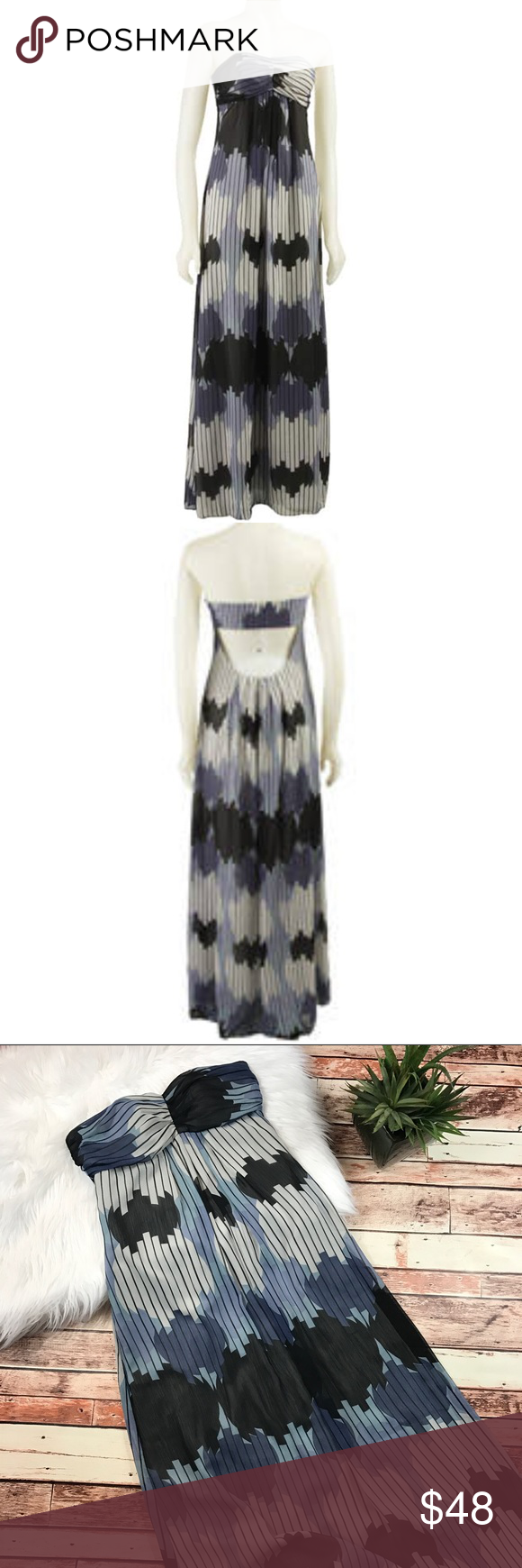 Max And Cleo Blue Printed Strapless Maxi Dress Size 4 In