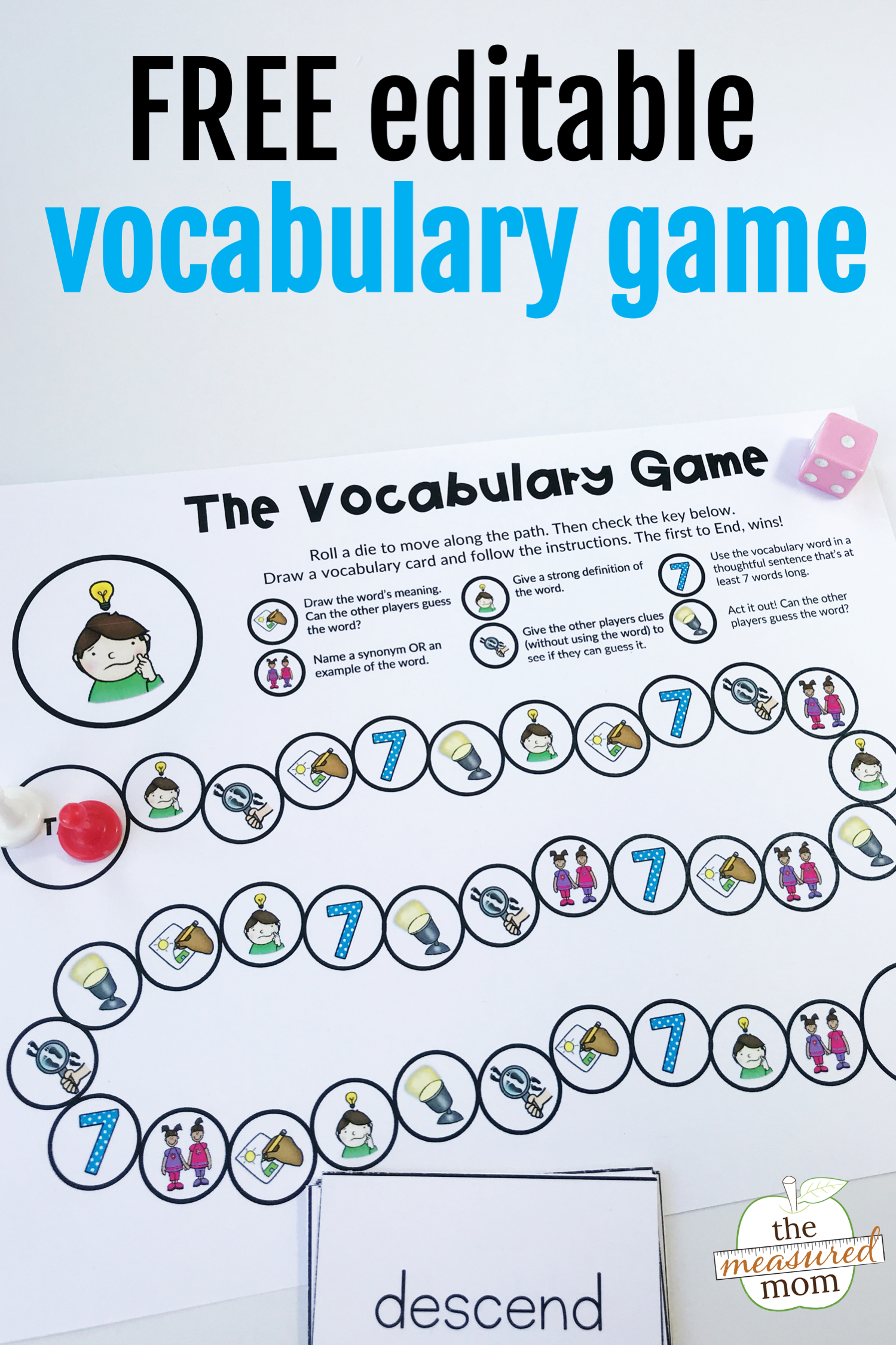 Free printable vocabulary game for grades 35 (editable