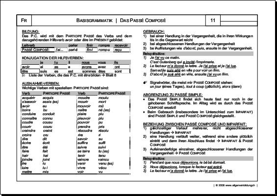 Französisch | Arbeitsblatt Passé Composé Grammatik | 8500 Übungen ...