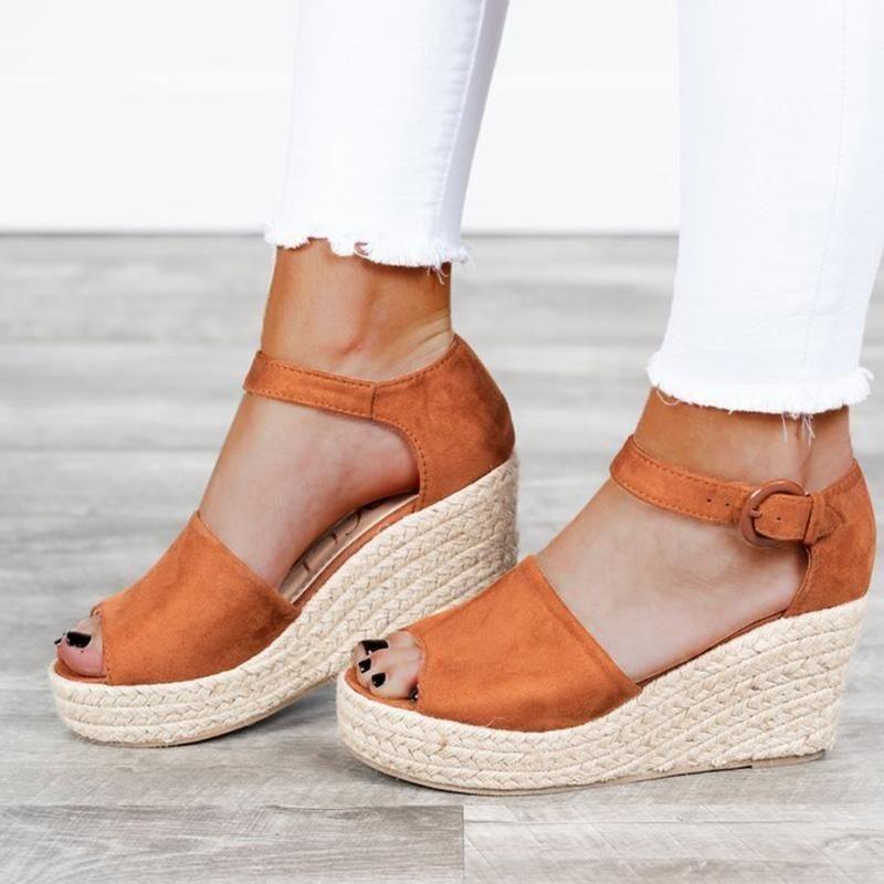 0786009b34bb WOMEN PEEP TOE WEDGE HEEL BUCKLE CASUAL SANDALS  Sandals  Wedge  Leatrend