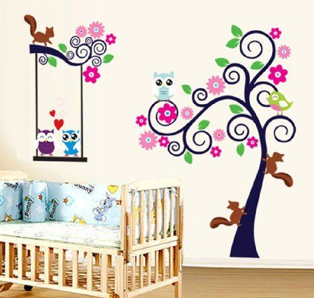 Stickers Murali Bambini Albero.Ufengke Albero Fiore Colorato Cute Owls Scoiattoli Adesivi