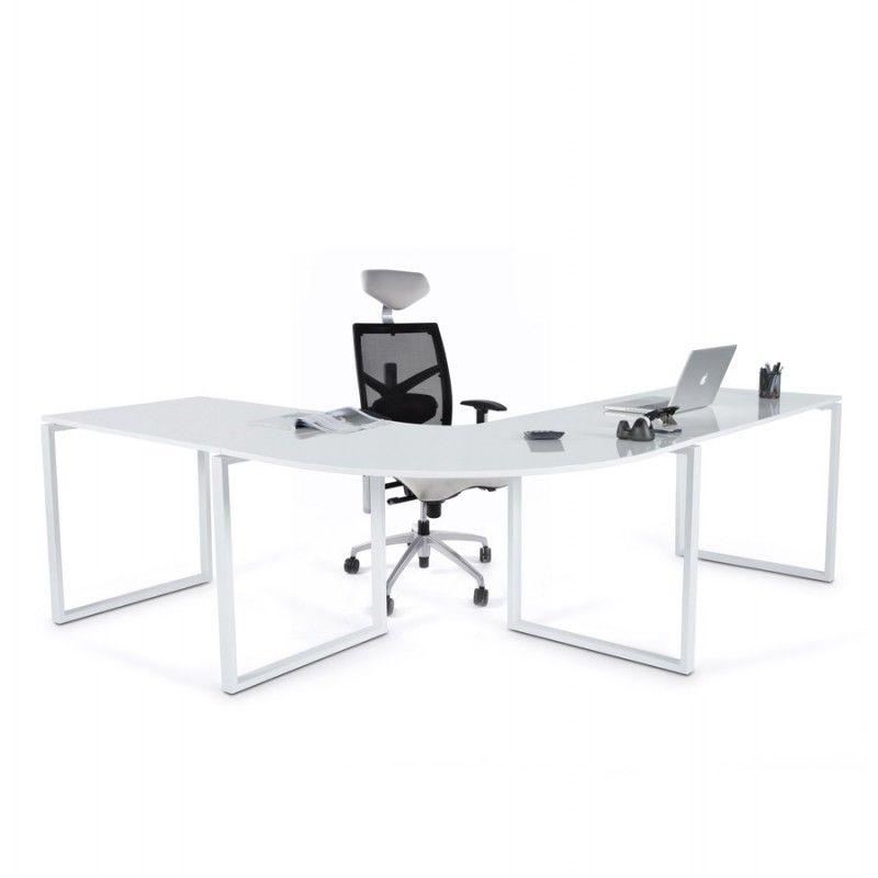 le bureau d 39 angle design fidji en bois laqu et m tal peint blanc vous offre un bel espace de. Black Bedroom Furniture Sets. Home Design Ideas