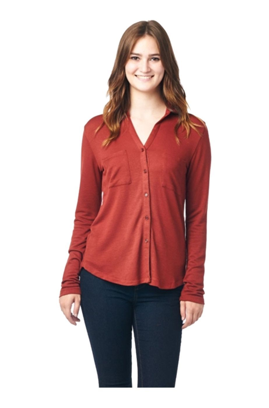 f94fbe0d65b1b Long Sleeve Button Down French Terry Blouse Shirt w/ Cuff Bands. Find this  Pin and more on Bodilove Trendy Clothes ...