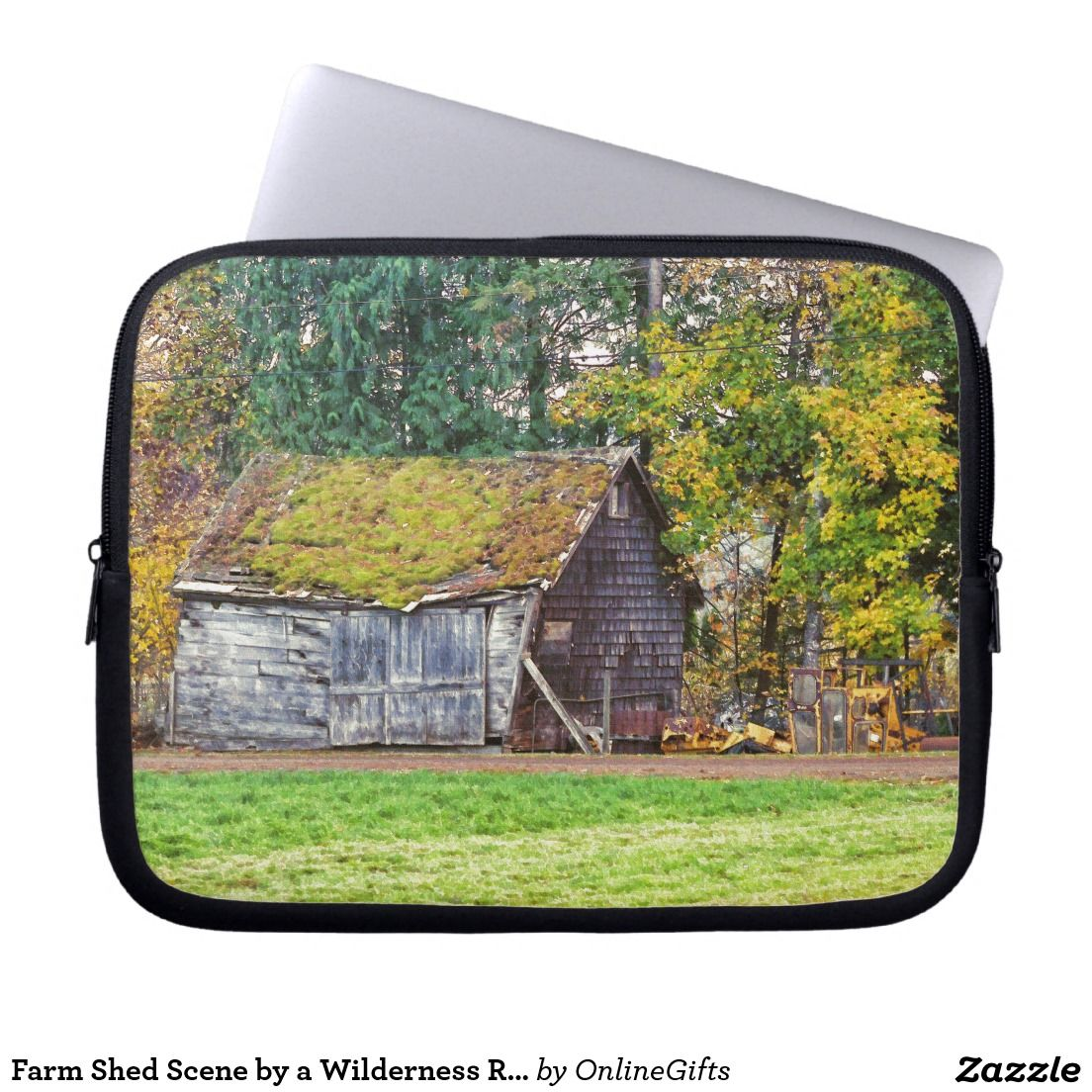 Farm Shed Scene By A Wilderness Ranch Computer Sleeve